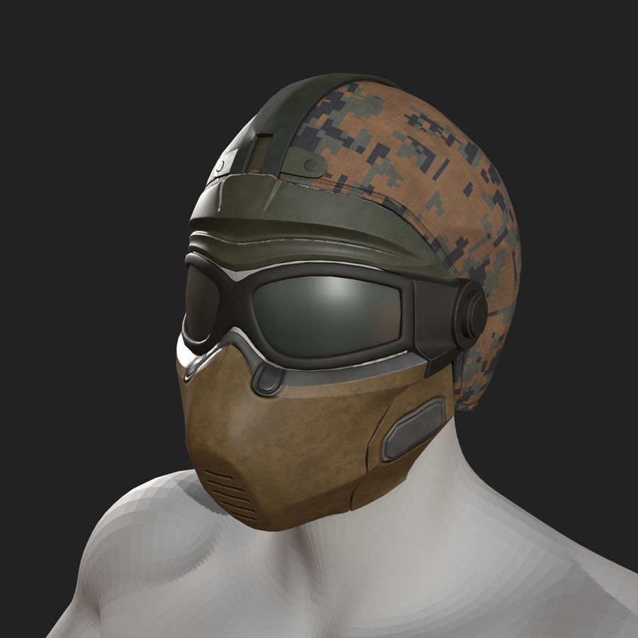 Helmet scifi military fantasy si fi royalty-free 3d model - Preview no. 9