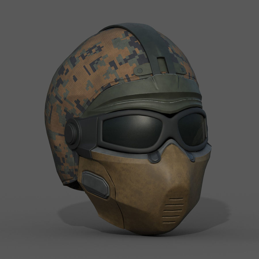 Helmet scifi military fantasy si fi royalty-free 3d model - Preview no. 4