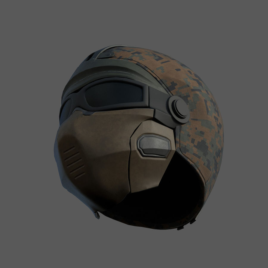 Helmet scifi military fantasy si fi royalty-free 3d model - Preview no. 8