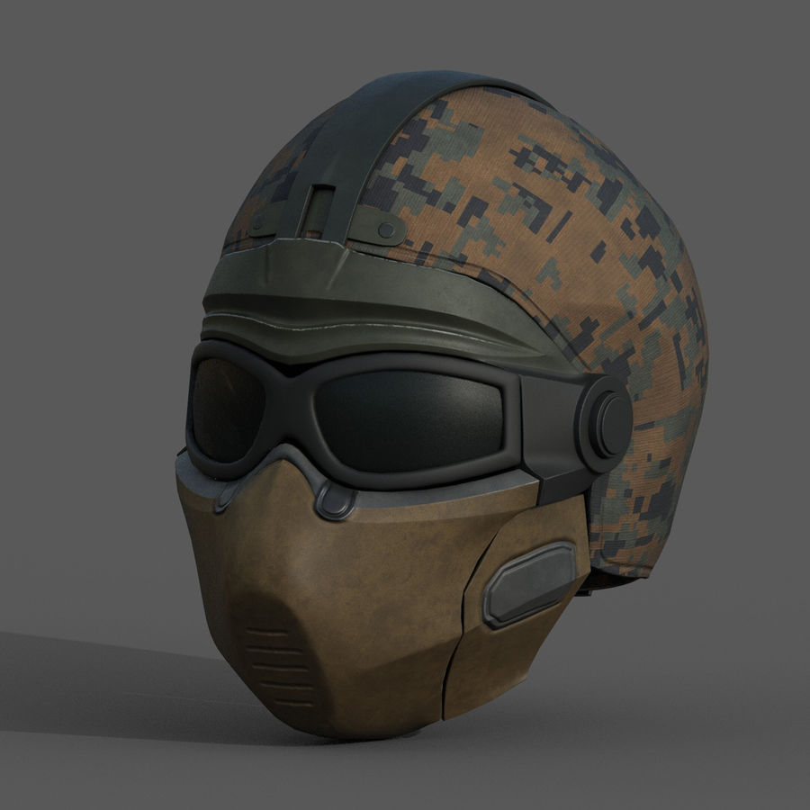 Helmet scifi military fantasy si fi royalty-free 3d model - Preview no. 2