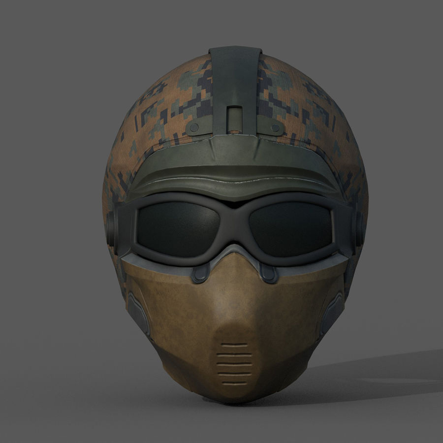 Helmet scifi military fantasy si fi royalty-free 3d model - Preview no. 3