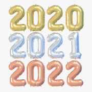 New Year Numbers Balloons Metallic 2020 3d model