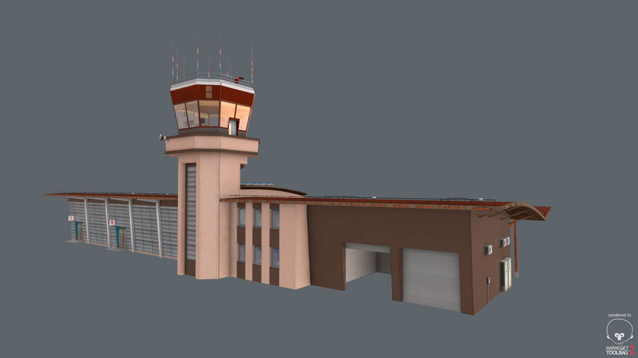 Airport terminal 2 gates royalty-free 3d model - Preview no. 13
