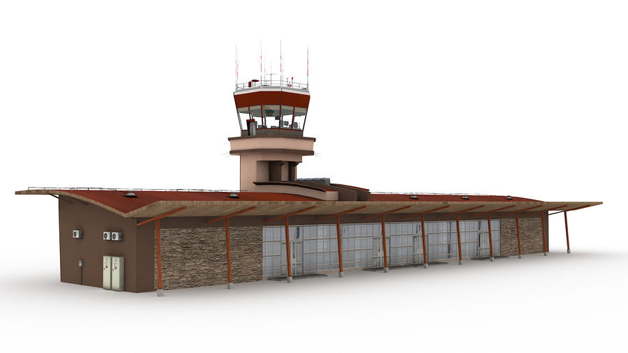 Airport terminal 2 gates royalty-free 3d model - Preview no. 6