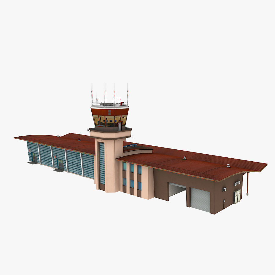 Airport terminal 2 gates royalty-free 3d model - Preview no. 1