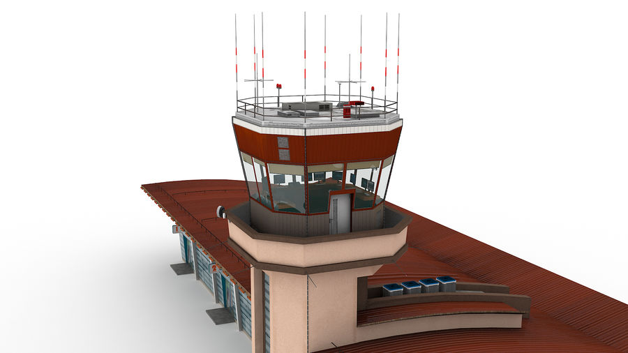 Airport terminal 2 gates royalty-free 3d model - Preview no. 4