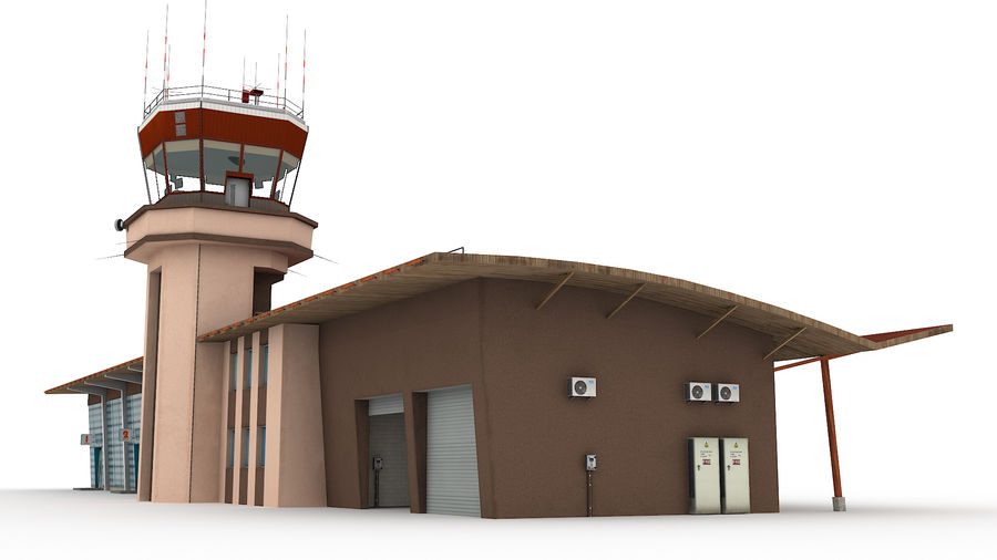 Airport terminal 2 gates royalty-free 3d model - Preview no. 12