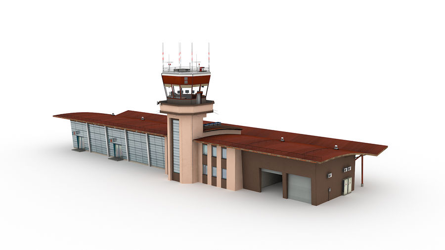 Airport terminal 2 gates royalty-free 3d model - Preview no. 2
