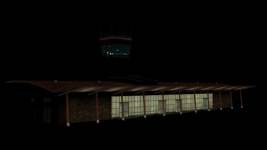 Airport terminal 2 gates royalty-free 3d model - Preview no. 7