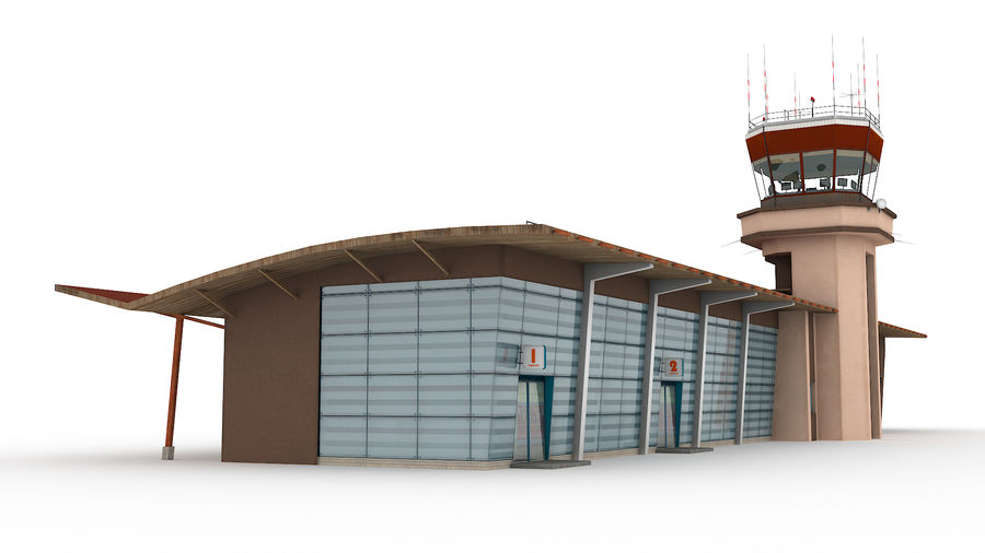 Airport terminal 2 gates royalty-free 3d model - Preview no. 11