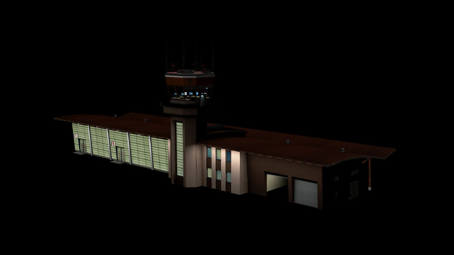 Airport terminal 2 gates royalty-free 3d model - Preview no. 3