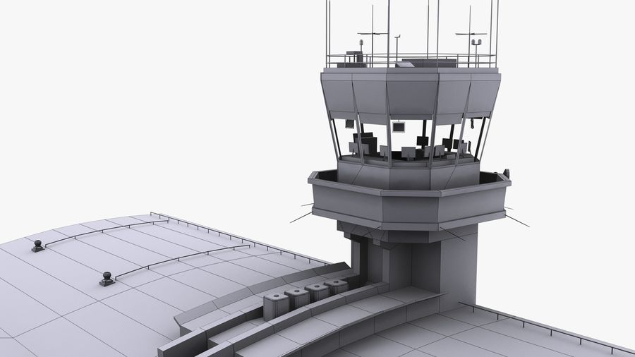 Airport terminal 2 gates royalty-free 3d model - Preview no. 20