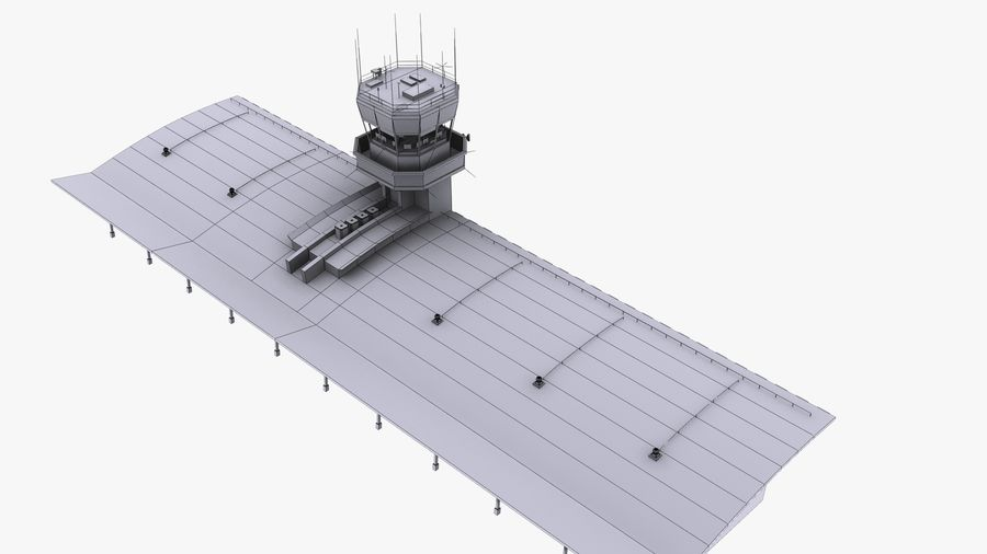 Airport terminal 2 gates royalty-free 3d model - Preview no. 19