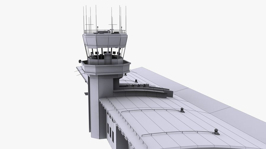 Airport terminal 2 gates royalty-free 3d model - Preview no. 17