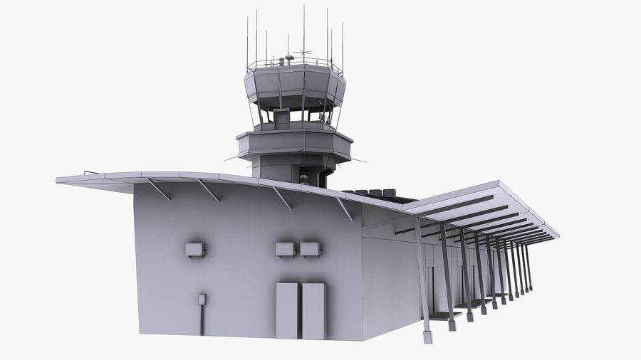Airport terminal 2 gates royalty-free 3d model - Preview no. 18