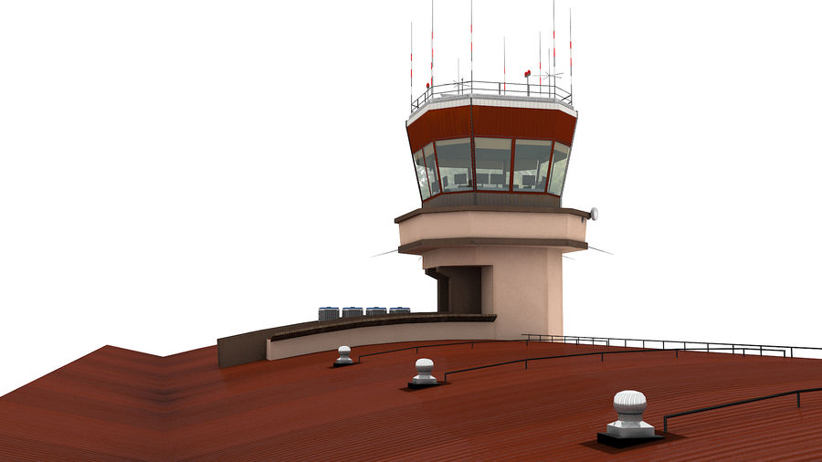 Airport terminal 2 gates royalty-free 3d model - Preview no. 10