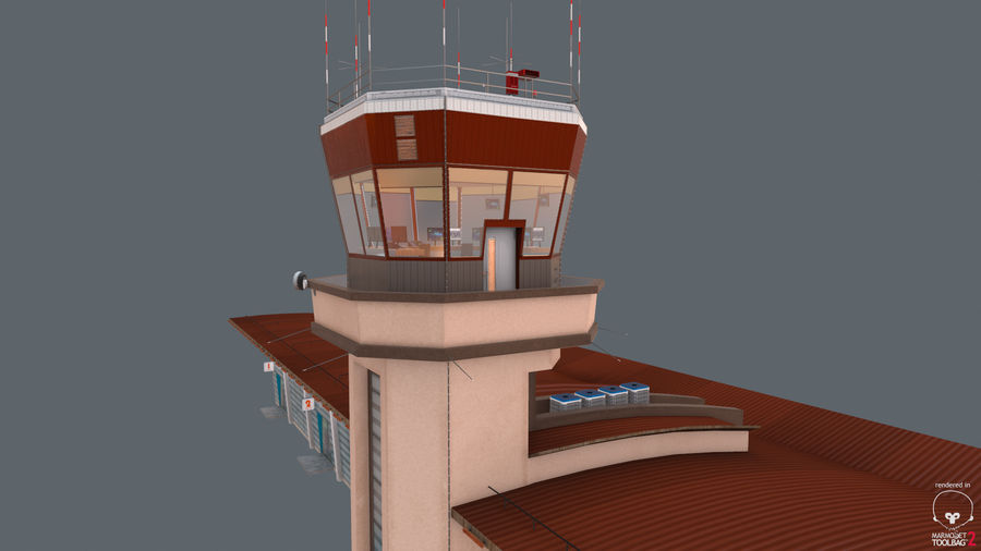Airport terminal 2 gates royalty-free 3d model - Preview no. 14