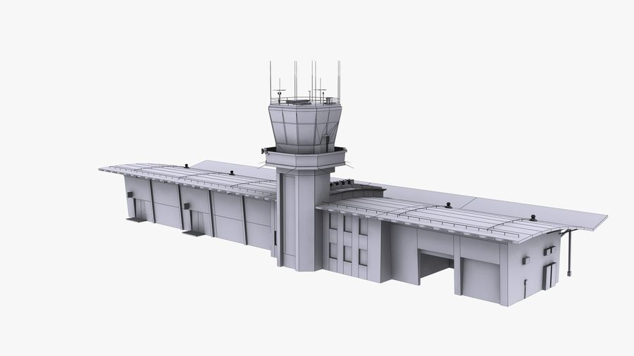 Airport terminal 2 gates royalty-free 3d model - Preview no. 21