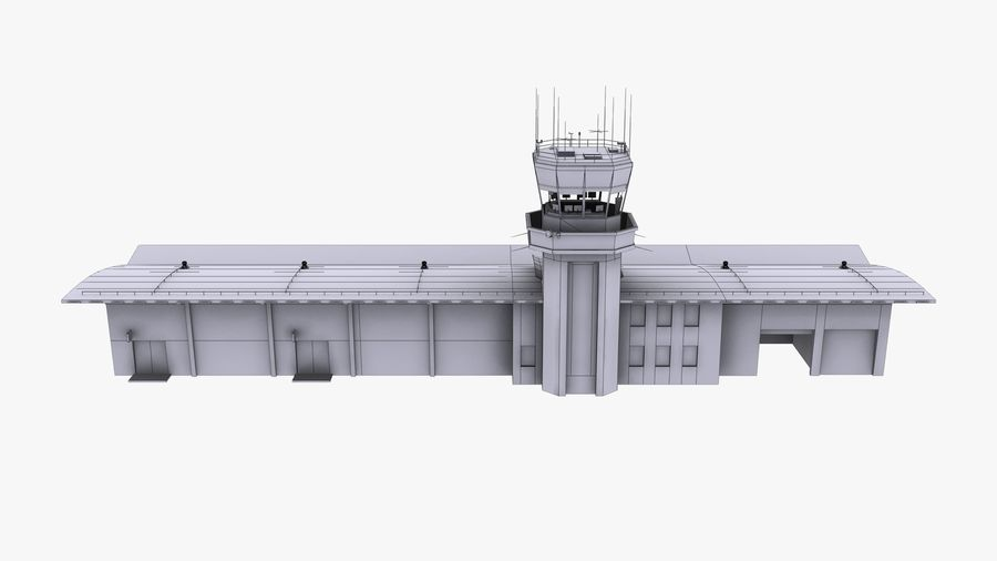 Airport terminal 2 gates royalty-free 3d model - Preview no. 16
