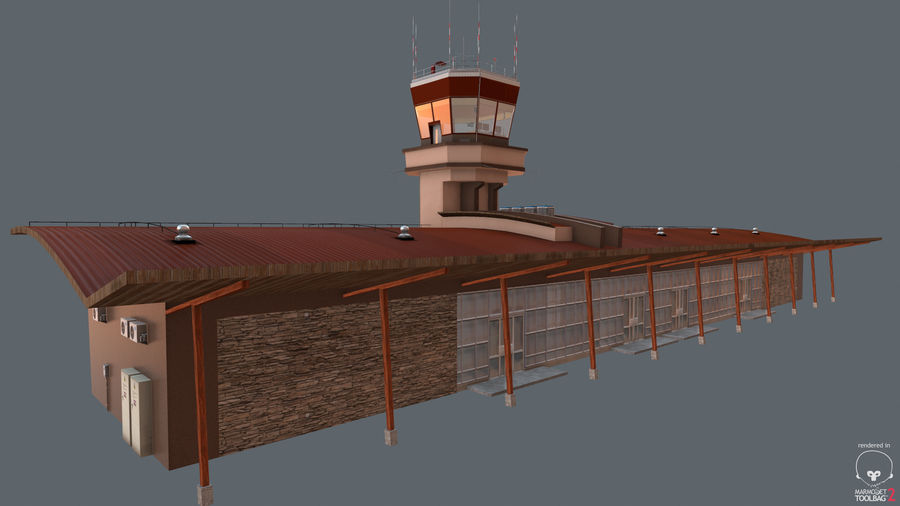 Airport terminal 2 gates royalty-free 3d model - Preview no. 15