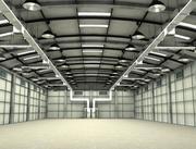 Hangar di fabbrica e di aereo 3d model