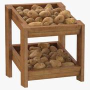 감자와 나무 상품 선반 02 3d model