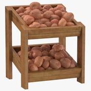 빨간 감자와 나무 상품 선반 02 3d model