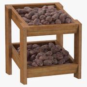 자주색 감자와 나무 상품 선반 02 3d model