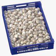 Nachernte-Obst- und Gemüse Behälter mit weißen Knopf-Pilzen 3d model