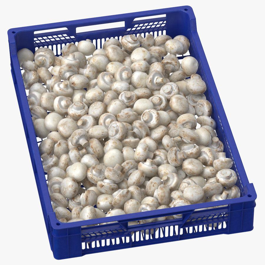 Nachernte-Obst- und Gemüse Behälter mit weißen Knopf-Pilzen royalty-free 3d model - Preview no. 1