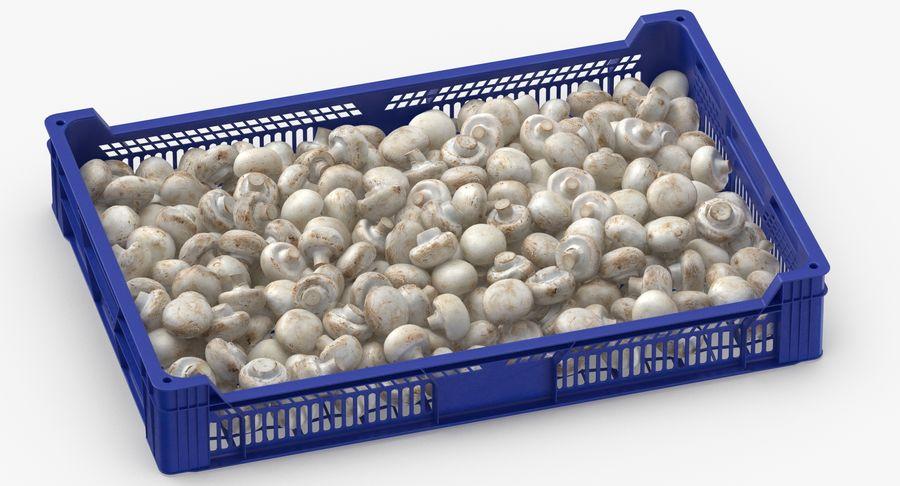 Nachernte-Obst- und Gemüse Behälter mit weißen Knopf-Pilzen royalty-free 3d model - Preview no. 5