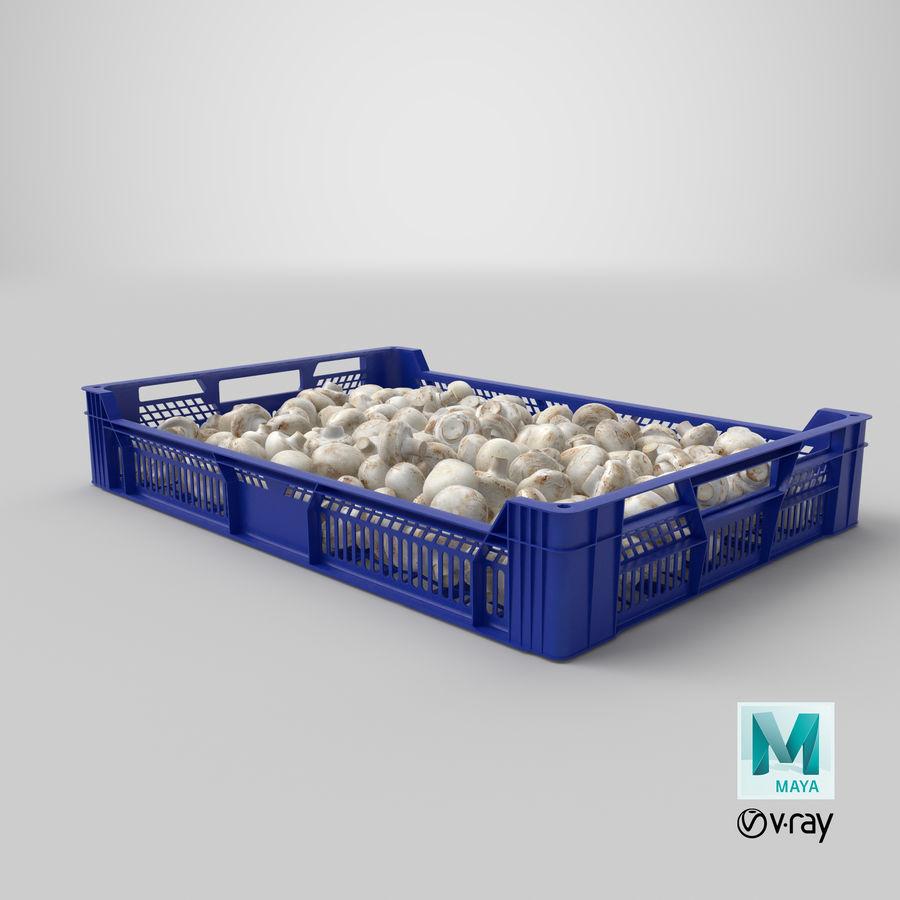 Nachernte-Obst- und Gemüse Behälter mit weißen Knopf-Pilzen royalty-free 3d model - Preview no. 28