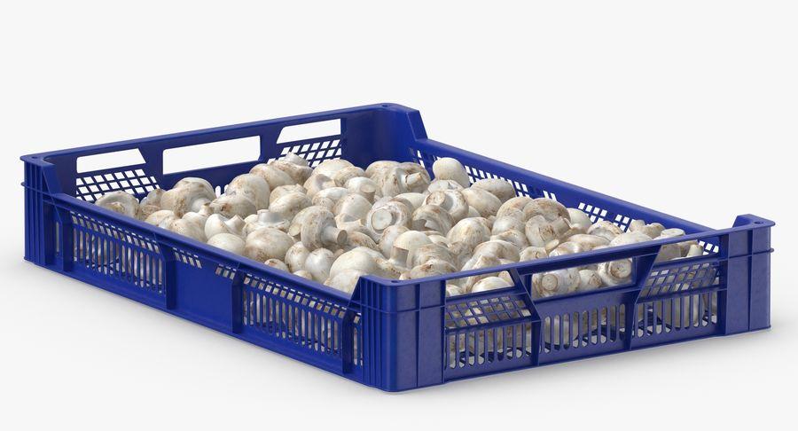 Nachernte-Obst- und Gemüse Behälter mit weißen Knopf-Pilzen royalty-free 3d model - Preview no. 7