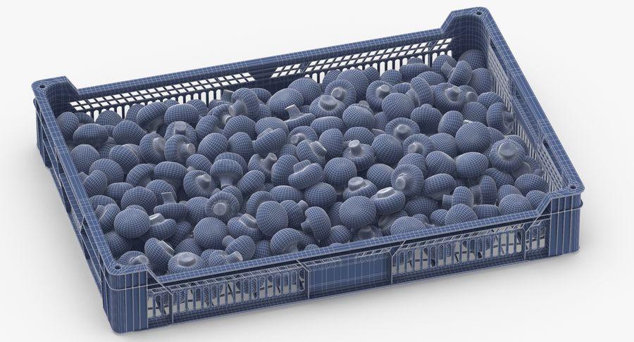 Nachernte-Obst- und Gemüse Behälter mit weißen Knopf-Pilzen royalty-free 3d model - Preview no. 13