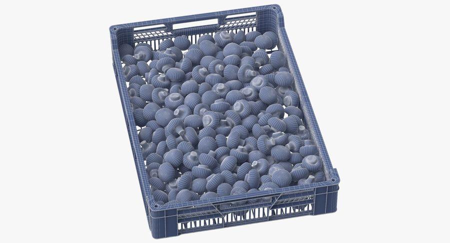 Nachernte-Obst- und Gemüse Behälter mit weißen Knopf-Pilzen royalty-free 3d model - Preview no. 10