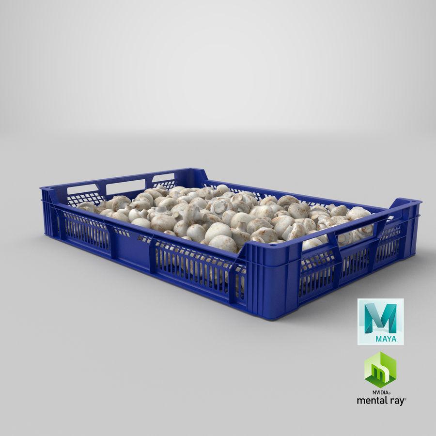 Nachernte-Obst- und Gemüse Behälter mit weißen Knopf-Pilzen royalty-free 3d model - Preview no. 27