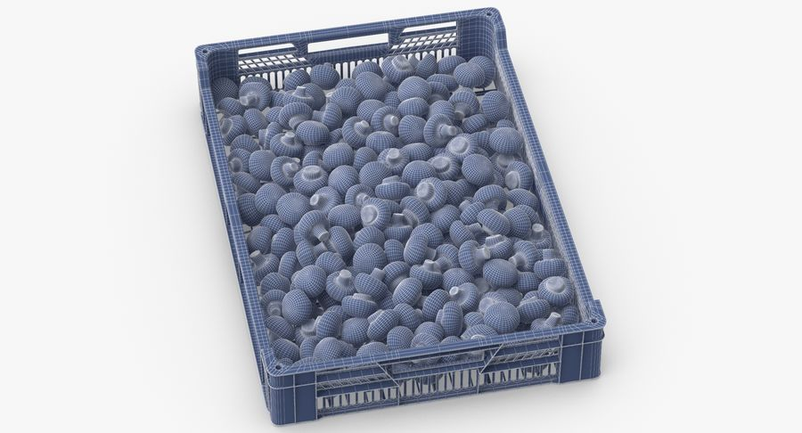 Nachernte-Obst- und Gemüse Behälter mit weißen Knopf-Pilzen royalty-free 3d model - Preview no. 11