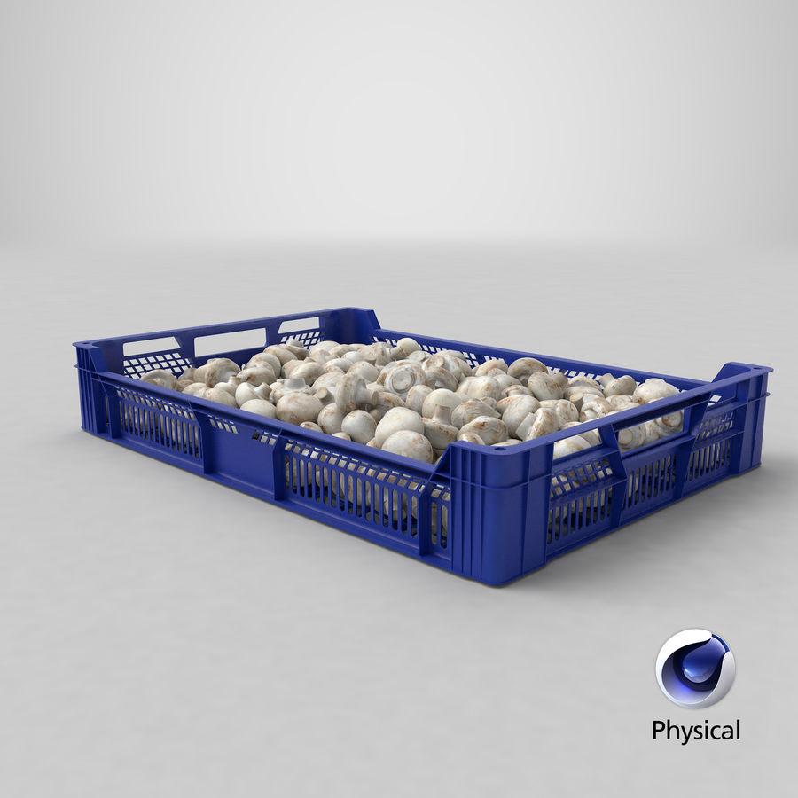 Nachernte-Obst- und Gemüse Behälter mit weißen Knopf-Pilzen royalty-free 3d model - Preview no. 21