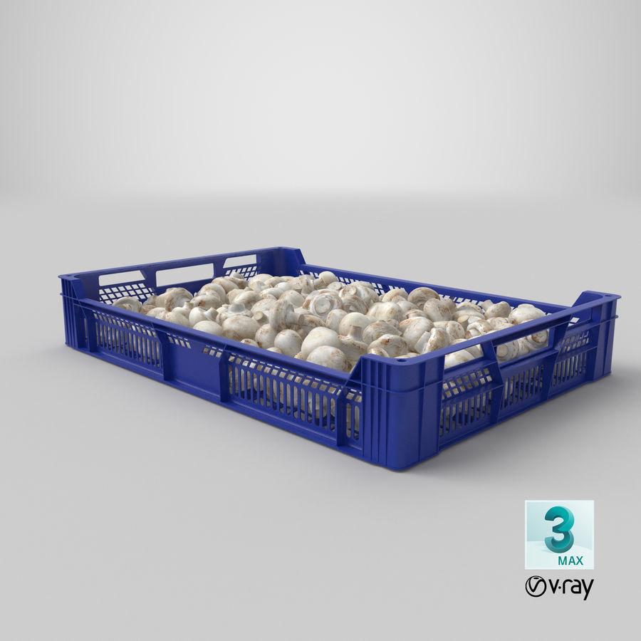 Nachernte-Obst- und Gemüse Behälter mit weißen Knopf-Pilzen royalty-free 3d model - Preview no. 25