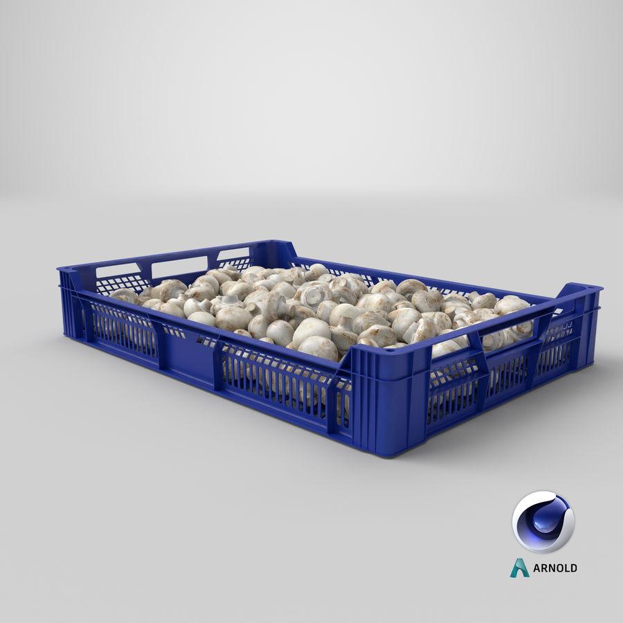 Nachernte-Obst- und Gemüse Behälter mit weißen Knopf-Pilzen royalty-free 3d model - Preview no. 22