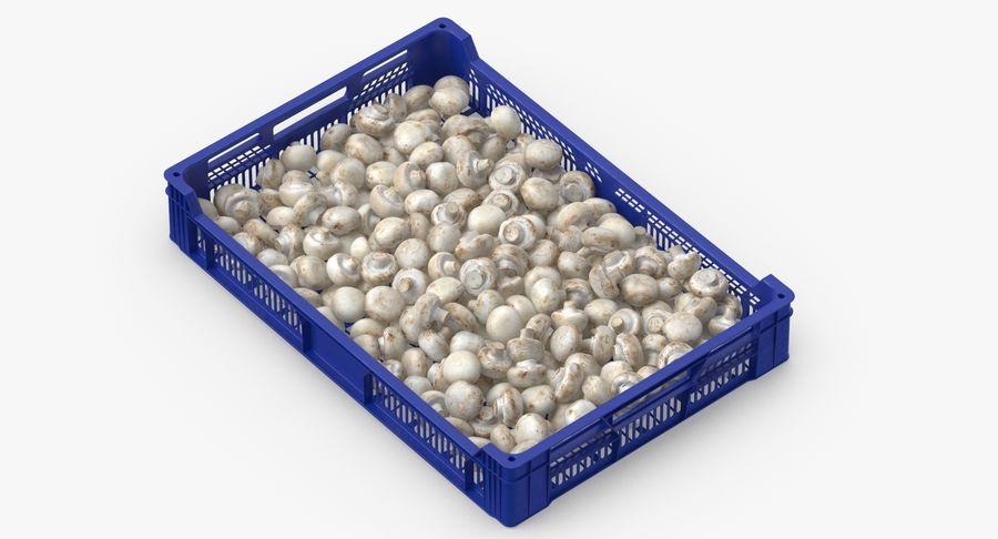Nachernte-Obst- und Gemüse Behälter mit weißen Knopf-Pilzen royalty-free 3d model - Preview no. 4