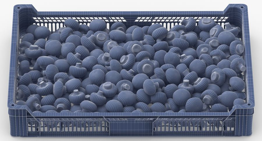 Nachernte-Obst- und Gemüse Behälter mit weißen Knopf-Pilzen royalty-free 3d model - Preview no. 14