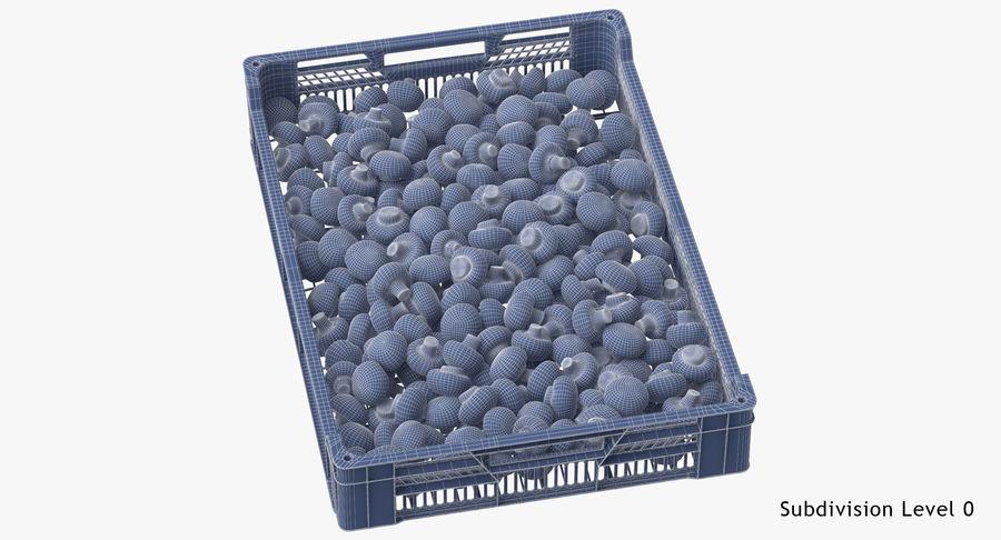 Nachernte-Obst- und Gemüse Behälter mit weißen Knopf-Pilzen royalty-free 3d model - Preview no. 18