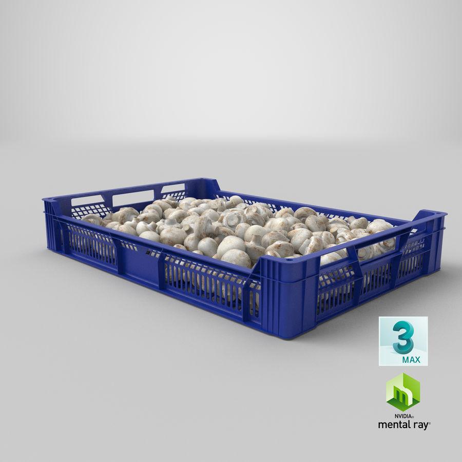 Nachernte-Obst- und Gemüse Behälter mit weißen Knopf-Pilzen royalty-free 3d model - Preview no. 24