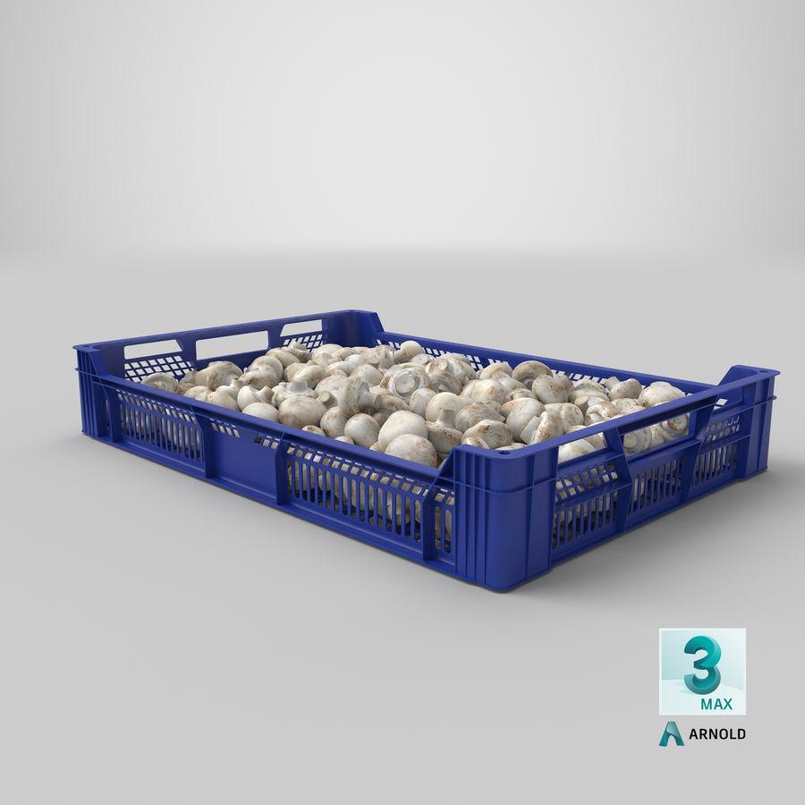 Nachernte-Obst- und Gemüse Behälter mit weißen Knopf-Pilzen royalty-free 3d model - Preview no. 23