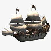 Galleon låga detaljer 3d model