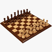 Realistic Wooden Chess 3d model