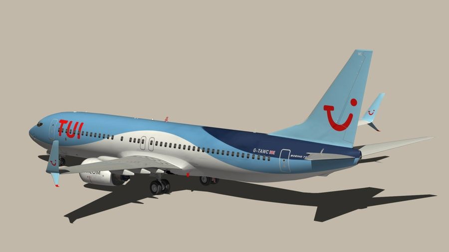 Boeing 737 800 TUI royalty-free 3d model - Preview no. 9