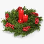 De kroon van Kerstmis met kaarsen 3d model