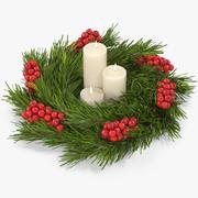 De kroon van Kerstmis met witte kaarsen 3d model